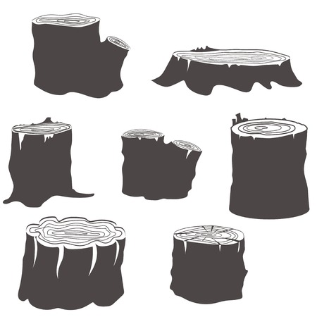 Stump black and white silhouettes set vector illustration 일러스트