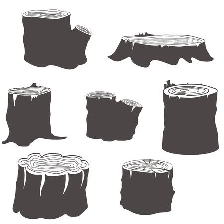 Stump black and white silhouettes set vector illustration Illustration