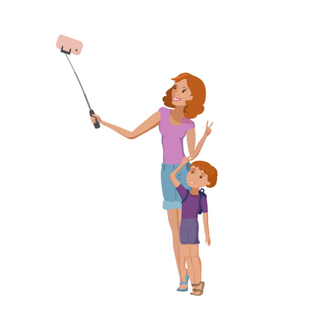 Happy family mother and little son yaving fun making selfie vector cartoon illustration eps10