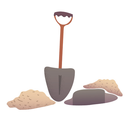 Shovel digging pit near the sand or ground heaps cartoon vector illustration