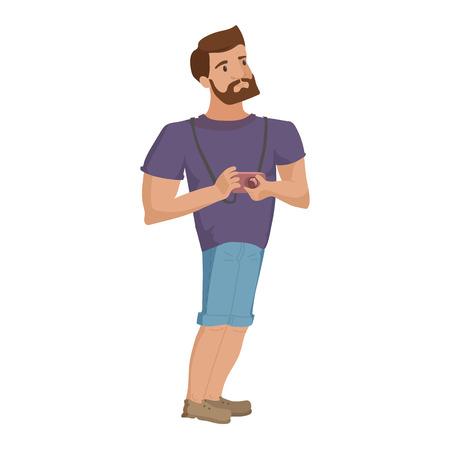 Junger Mann mit Bart und Fotokamera isoliert Charakter Vektor-Illustration eps10 Standard-Bild - 95147221