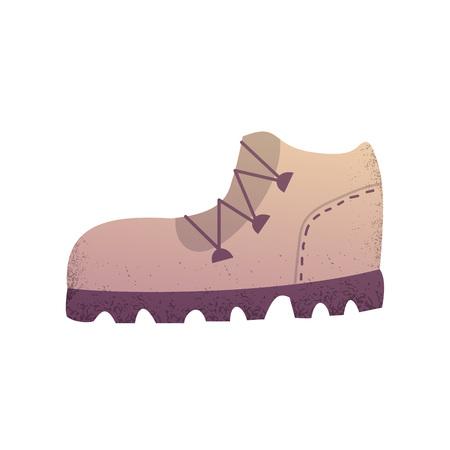 Sand color trekking boot isolated cartoon vector illustration eps10