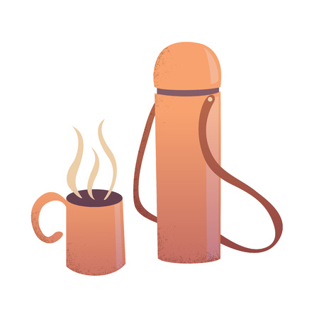 Travelling thermos with a cup with a hot drink in it cartoon vector illustration eps10