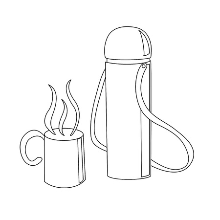 Travelling thermos with a cup with a hot drink in it outline coloring page cartoon vector illustration