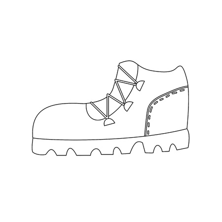 Trekking boot outline coloring page isolated cartoon vector illustration Illustration