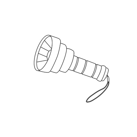 Flashlight outline coloring page vector cartoon illustration