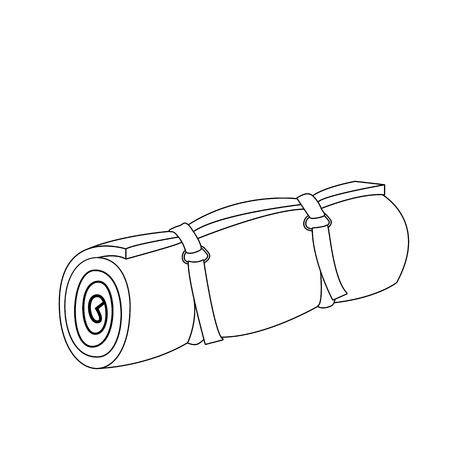 Camping roll mat outline coloring page cartoon vector illustration
