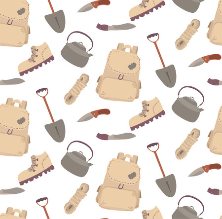 Seamless travelling camping hiking pattern cartoon illustartion boot rope knife kettle teapot shovel