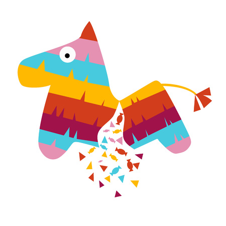 Fiesta horse broken pinata illustration for kids play cartoon vector illustration mexican traditional