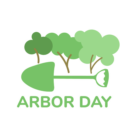 National arbor day symbol illustration Shovel icon with trees flat vector Illustration