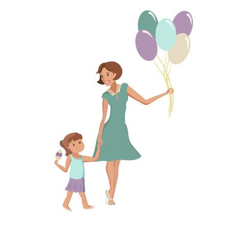 幸福的家庭,妈妈和女儿玩得开心,吃着气球,以派对的冰淇淋微笑矢量卡通插图。