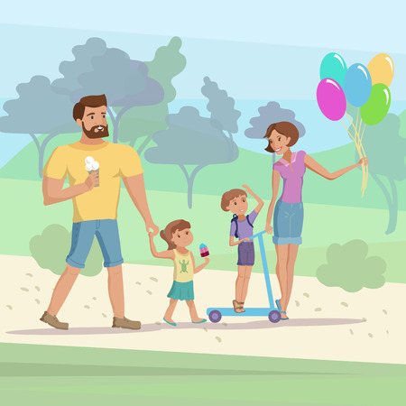 Happy family mother father little son and daughter having fun walking at the park vector cartoon illustration.