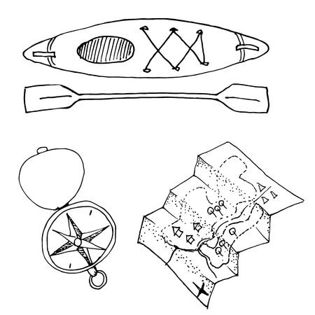 Doodle camping equipment set hand drawn black and white vector illustration. Ilustração