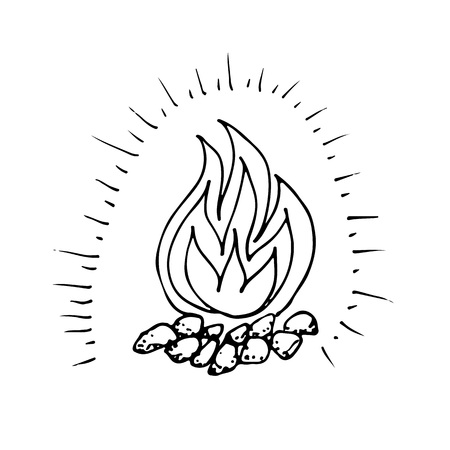 Doodle shining camping fire hand drawn black and white vector illustration.