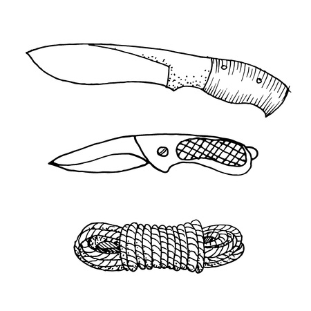Doodle camping equipment set knifes and rope hand drawn black and white vector illustration.