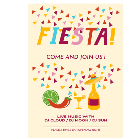 Cinco de Mayo flyer template party invitation cartoon vector illustration.