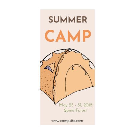 Summer camp flyer template cartoon vector illustration.