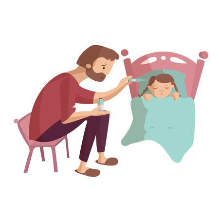 Father treating an ill daugter having high temperature vector cartoon illustration