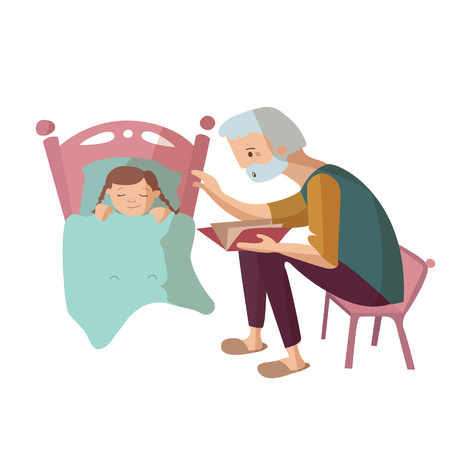Grandfather reading book to child at the night in the bed vector cartoon illustration Ilustração