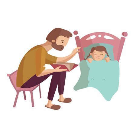 Father reading book to child at the night in the bed vector cartoon illustration Ilustração