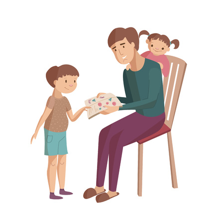 Father reads book with children son and daugter showing pictires sitting on the chair vector cartoon illustration Ilustração
