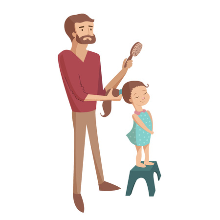 Father is combing daugter hair with brush making pony tale vector cartoon illustration