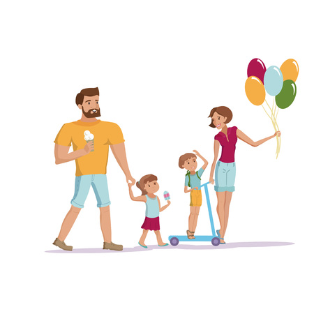 Happy family mother father little son and dougter having fun walking at the park vector cartoon illustration eps10 Ilustração
