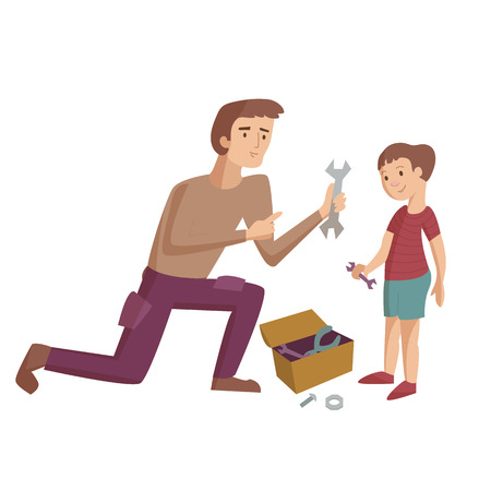 Father shows instruments and teaches son how to use it and repair smth vector cartoon illustration