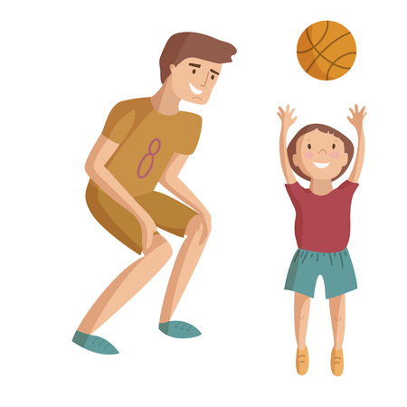 Father plays basketball with son playing ball vector cartoon illustration