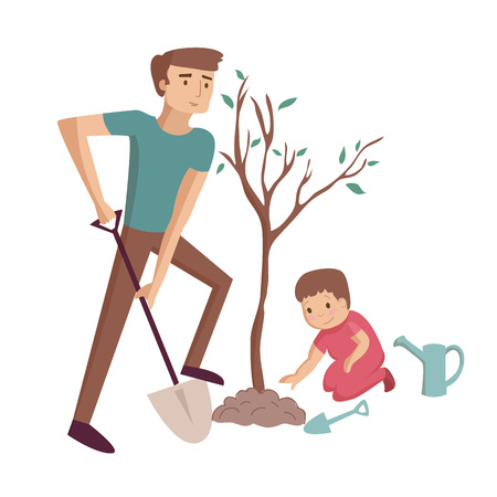 Dad plants tree with son digging with shovel vector cartoon illustration Vectores