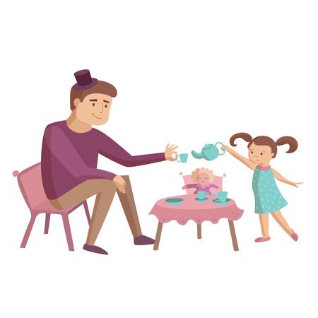 Dad plays with daughter drinking tea dolls toys vector cartoon illustration
