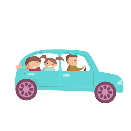 Dad with children driving car happy travelling vector cartoon illustration