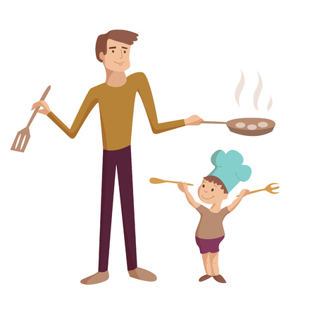 Dad cooks with son fties on pan vector cartoon illustration