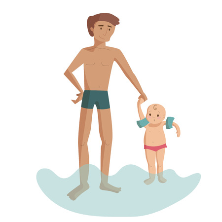 Dad with son on the beach sea water swimming vector cartoon illustration