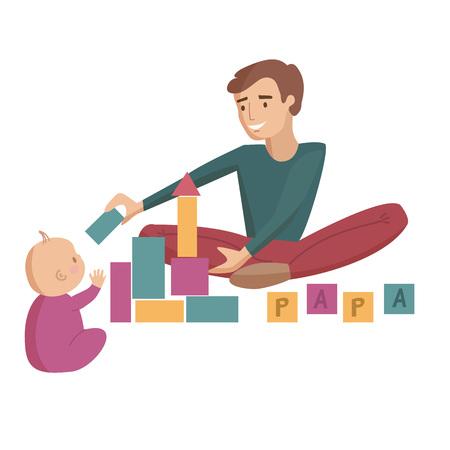 Papa père joue des blocs de construction avec petite illustration de dessin animé de vecteur de bébé.