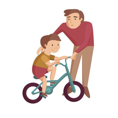Dad with son teaches ride bike vector cartoon illustration