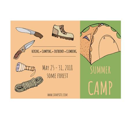 Summer camp template cartoon vector illustration Ilustração