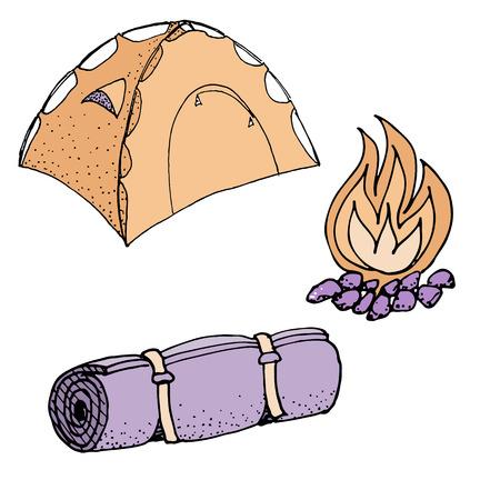 Doodle camping equipment and elements set tent mat bonfire hand drawn colored vector illustration