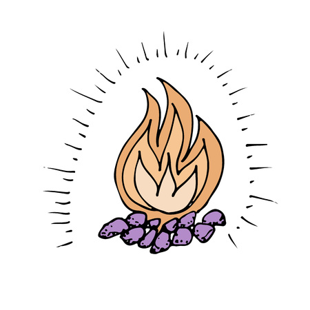Doodle camping fire hand drawn colored vector illustration
