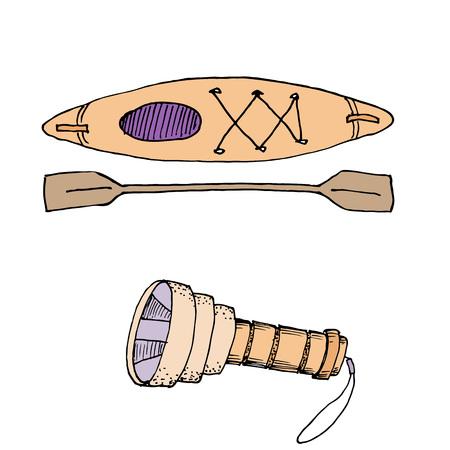 Doodle camping equipment set hand drawn colored vector illustration Ilustração