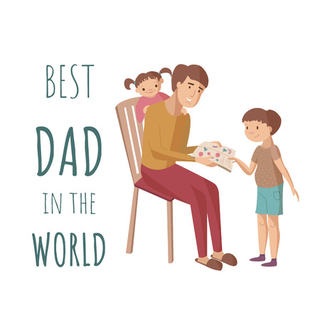 Father reads a book for children daughter and son shows pictures sitting on the chair. Vector cartoon illustration