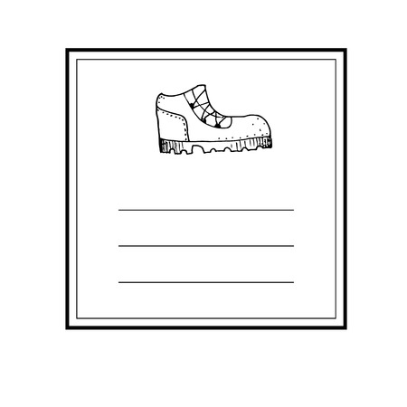 Hand drawn card template with shoe trekking boot icon and lines vector illustration