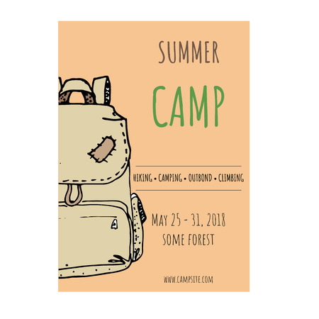 Summer camp flyer template cartoon vector illustration Imagens