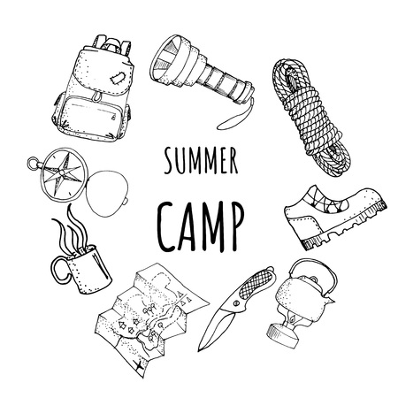 Hand drawn frame card template camping travel hiking outdoor with backpack flashlight rope boot mat knife kettle vector illustration Imagens