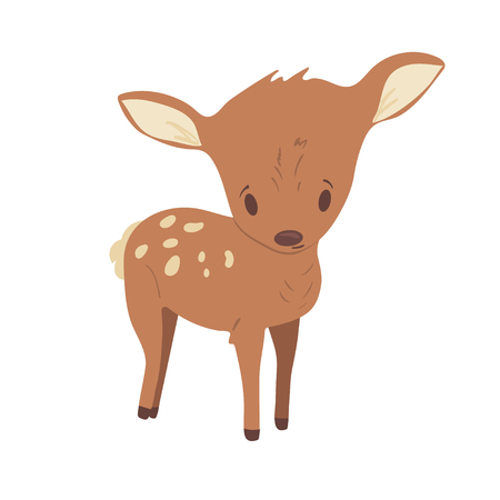 Forest animal vector with isolated cartooning little fawn baby deer. Good as print card sticker for kids accesories
