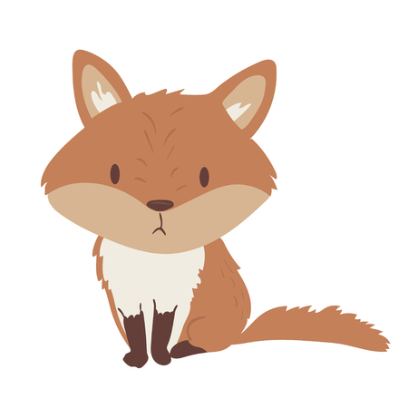 Forest animal vector with isolated cartooning little fox. Good as print card sticker for kids accesories