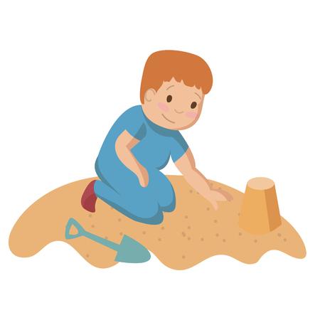 Playing child kid on the sand building castle or tower cartoon vector illustration Ilustração