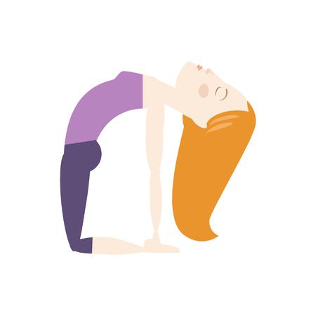 Red hair woman doing yoga camel pose cartoon vector illustration Ilustração