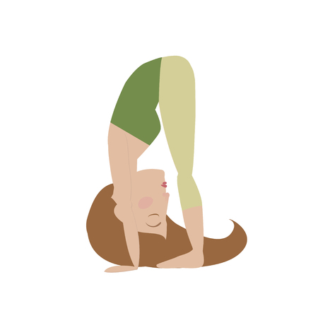 Brown hair woman doing yoga big toe pose cartoon vector illustration