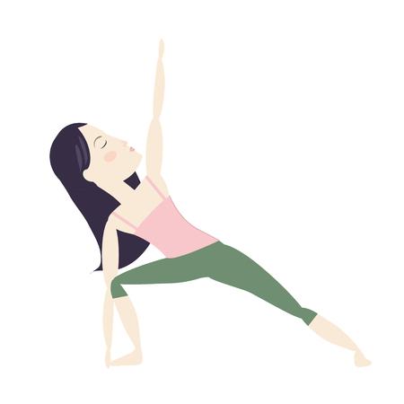 Black hair woman doing yoga pose cartoon vector illustration Ilustração